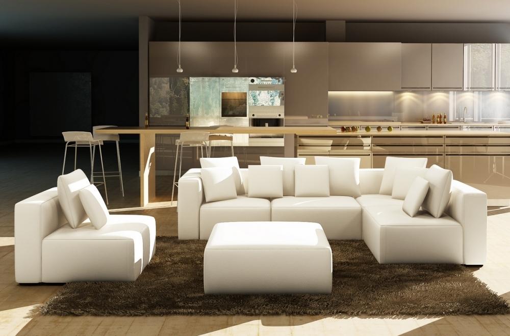 Canapé modulable bino cuir prestige luxe blanc