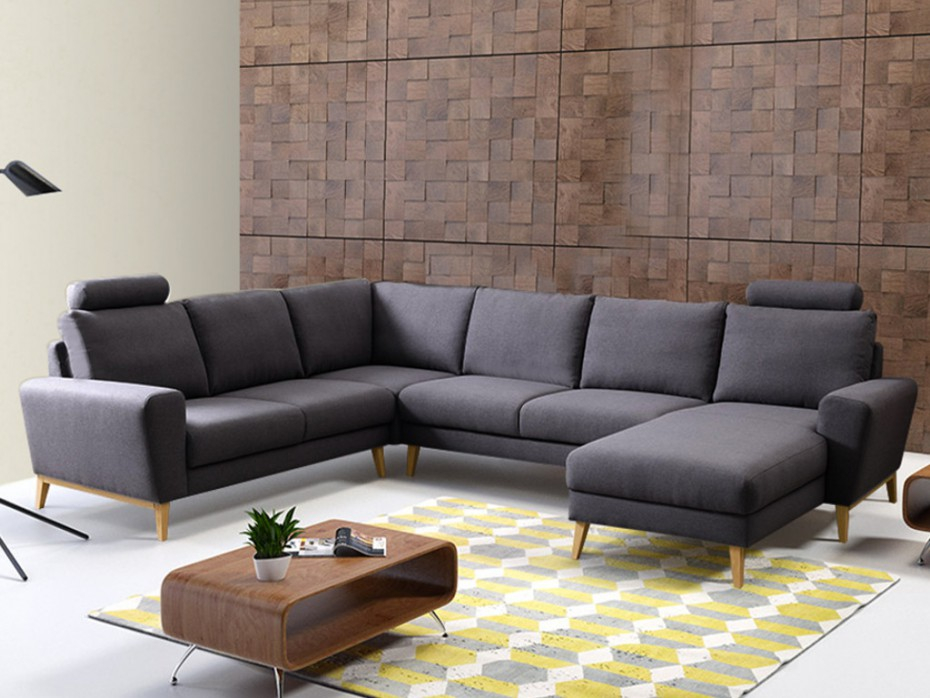 Canapé d angle panoramique en tissu 4 coloris VISBY