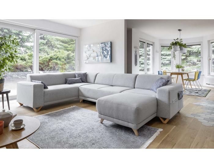 Oslo canapé panoramique d'angle droit gris clair style