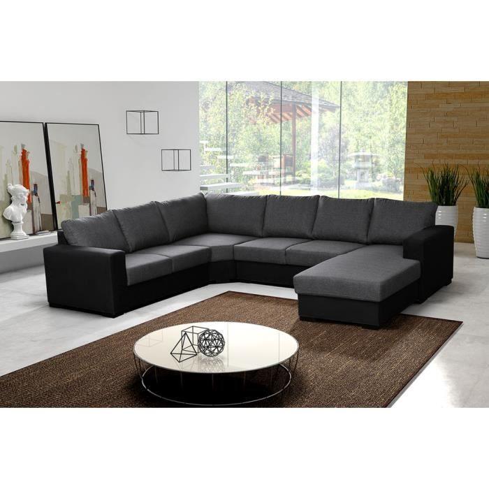 Canapé d angle 6 places OARA panoramique pas cher gris