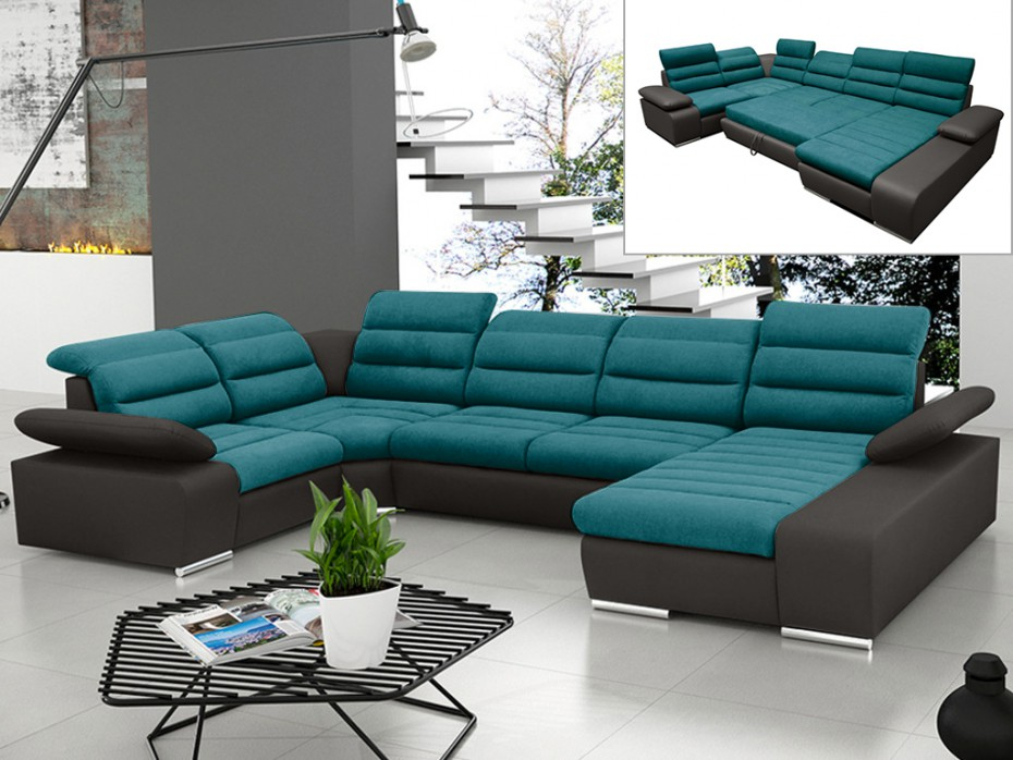 Canapé d angle droit convertible bleu gris BOILEAU