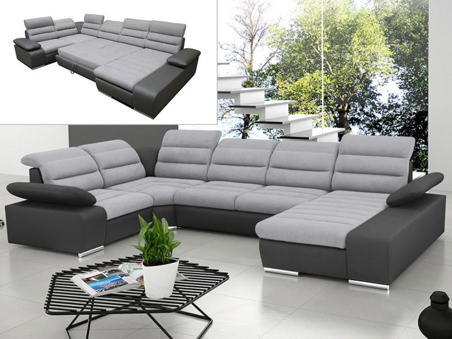 Canapé d angle droit convertible tissu et PU gris BOILEAU