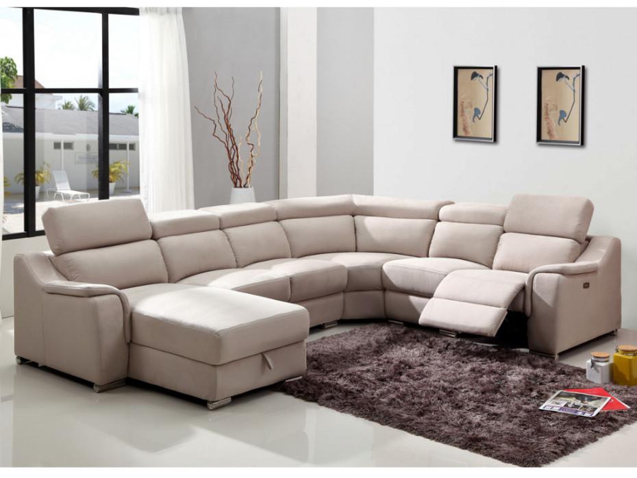 Canapé d angle gauche relax électrique beige AMADORA