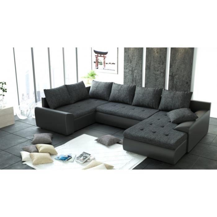 Canapé d angle panoramique 6 places JOYA tissu noir PU