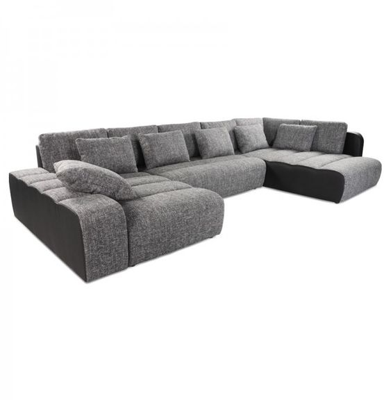 Canapé en U convertible panoramique MASTA noir tissu