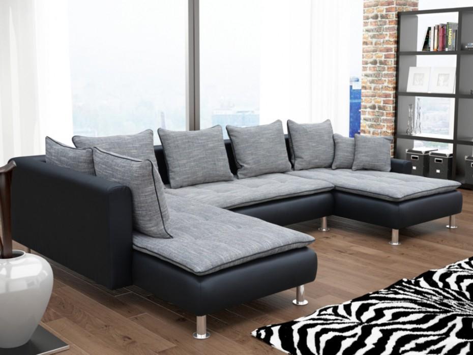 Canapé panoramique tissu et PU ELEGATO Beige ou noir gris
