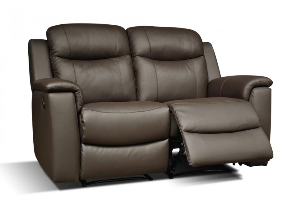 Canapé 2 places relax cuir de vachette Chocolat EVASION