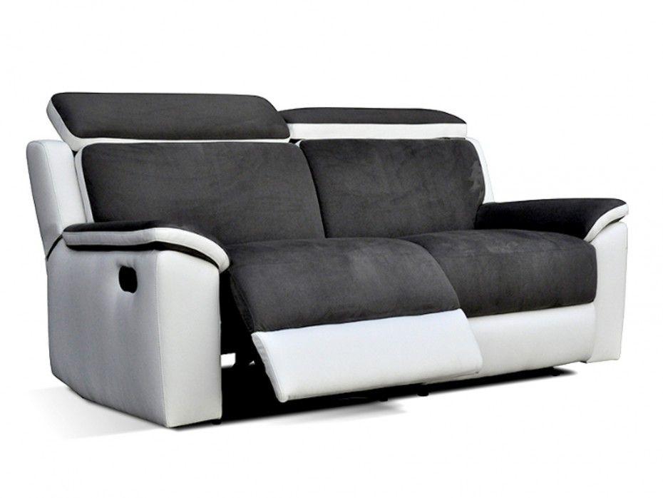 Canapé 2 places relax en simili et microfibre SOUFFLE Gris
