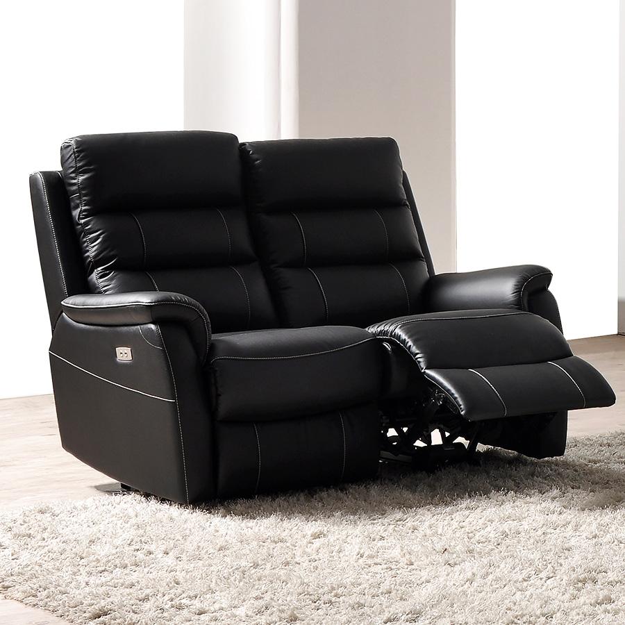 Canapé noir en cuir relax électrique