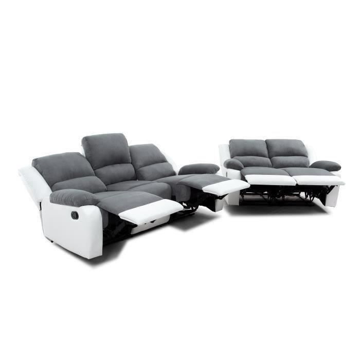 RELAX Ensemble de 2 canapés de relaxation droits 3 2