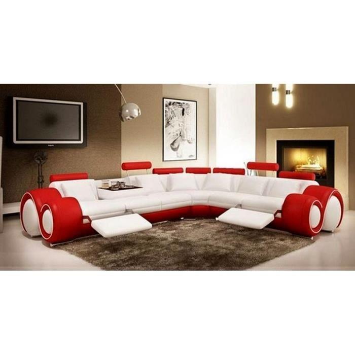 Canapé Relax Blanc Canapé D Angle Design En Cuir Blanc Et Rouge Relax Achat