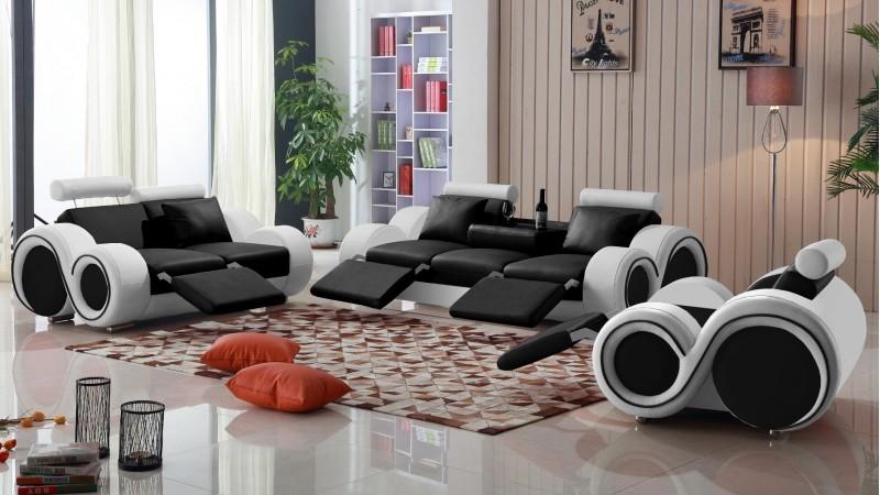 Canapé 3 places relax en cuir avec appuie têtes Carlson
