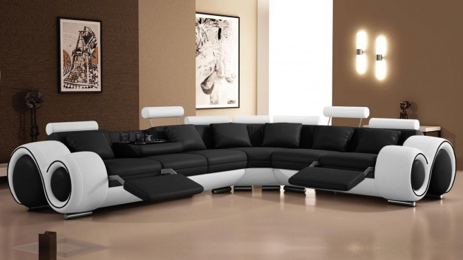 Canapé panoramique cuir design de relaxation Carlson
