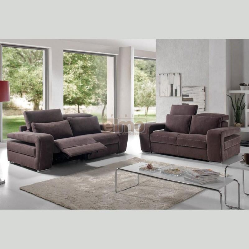Canapé relaxation design moderne têtières réglables cuir