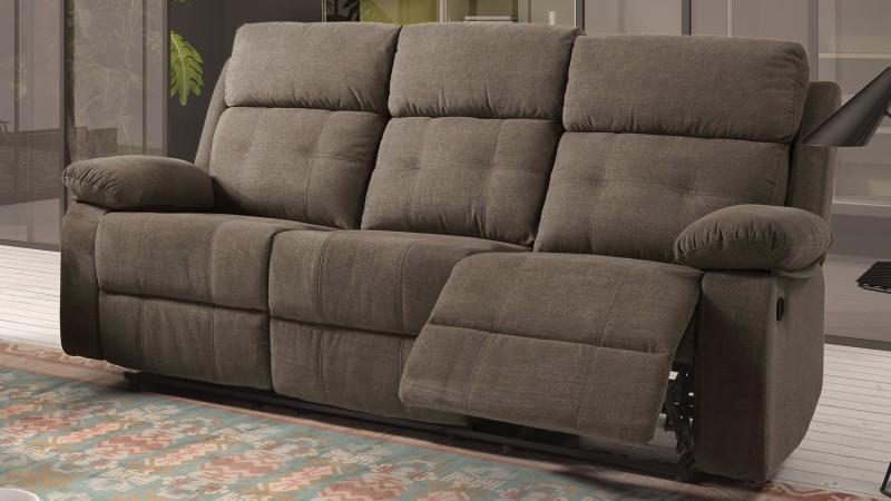 Canapé 3 places de relaxation électrique en tissu Norig