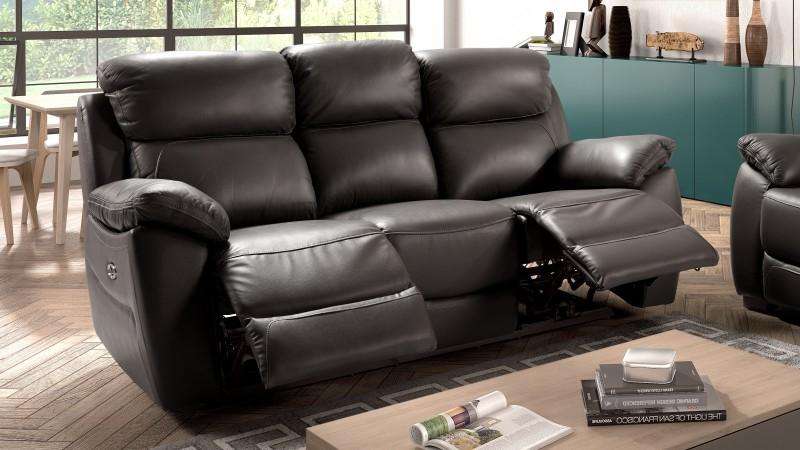 Canapé de relaxation en cuir 3 places électrique Barrett
