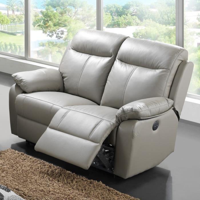 Canapé Relax électrique 2 places Cuir VYCTOIRE Achat