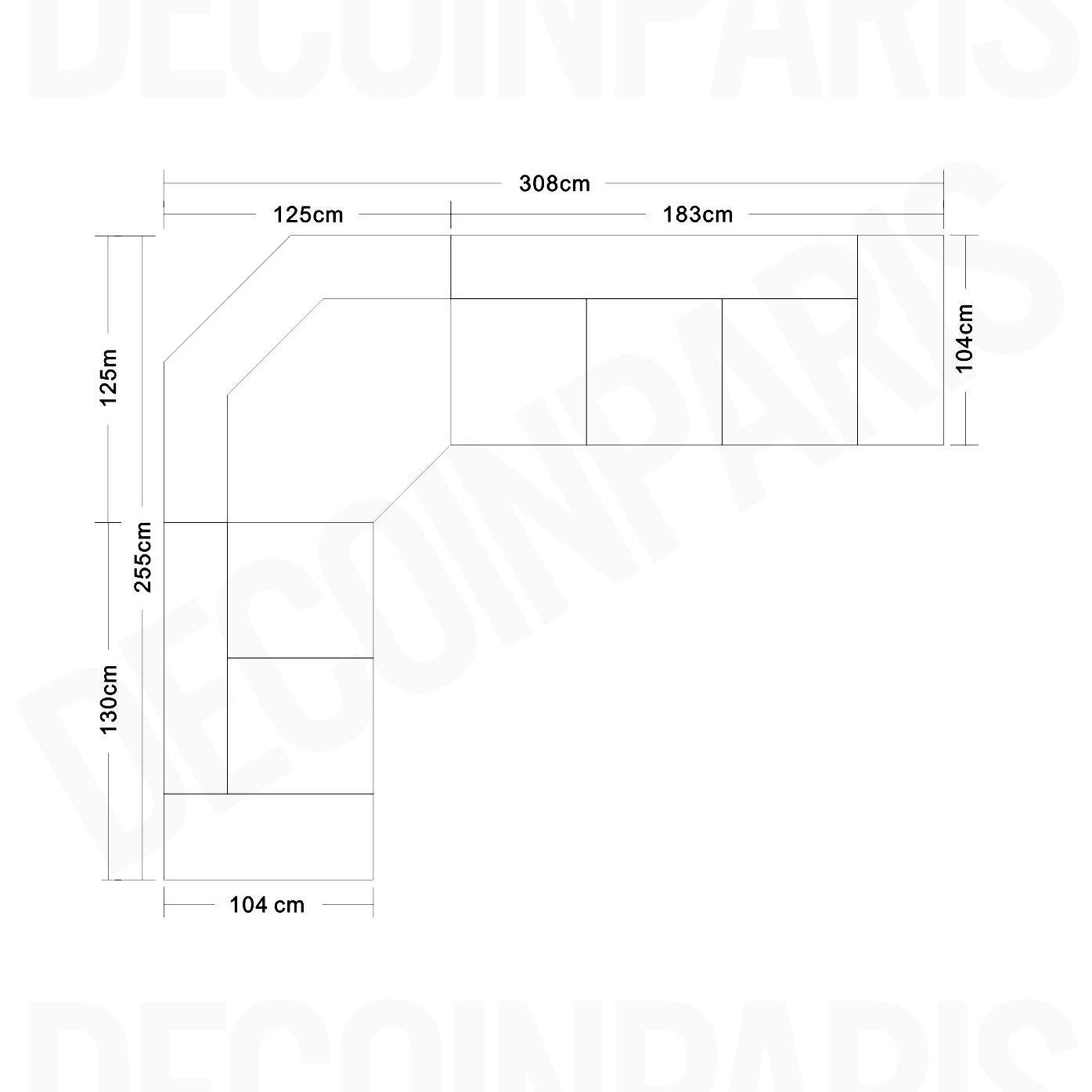 DECO IN PARIS Canape d angle cuir marron positions relax