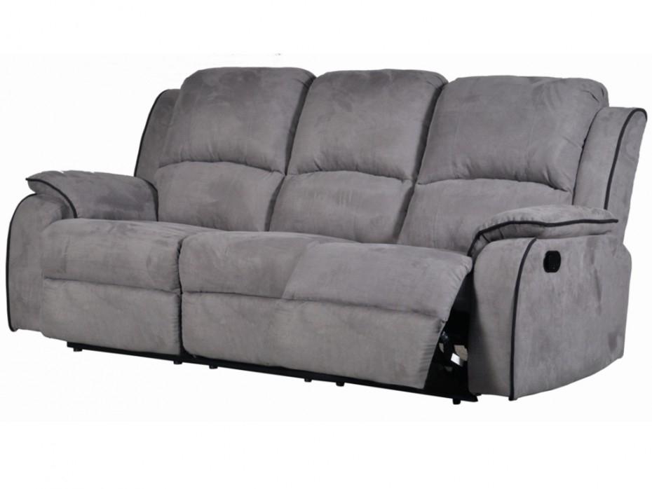 Canapé 3 places relax en microfibre Gris HERNANI