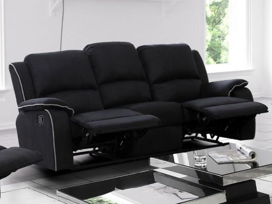 Canapé 3 places relax en microfibre Noir HERNANI