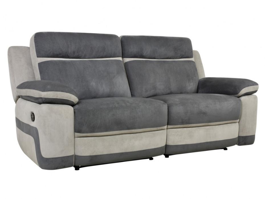 Canapé 3 places relax microfibre gris et anthracite TALCA