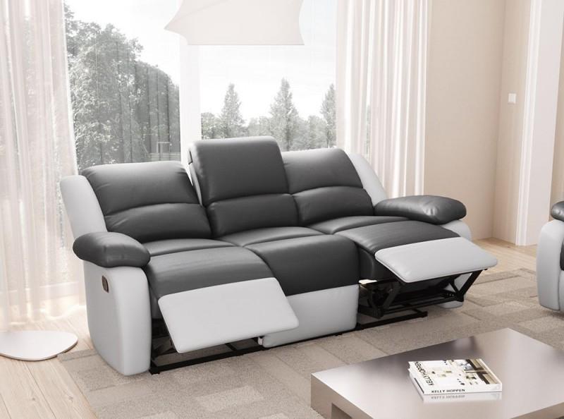 Canapé 3 places relax microfibre gris et simili cuir blanc
