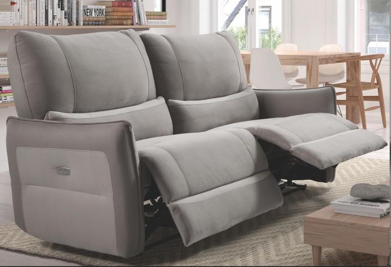 Canapé de relaxation 2 places Electrique Microfibre Gris