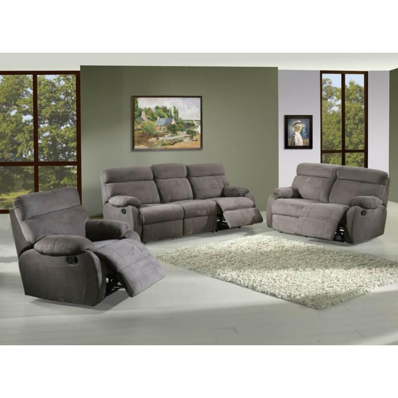 Canapé de relaxation manuel microfibre 3 places 2 relax Sarah
