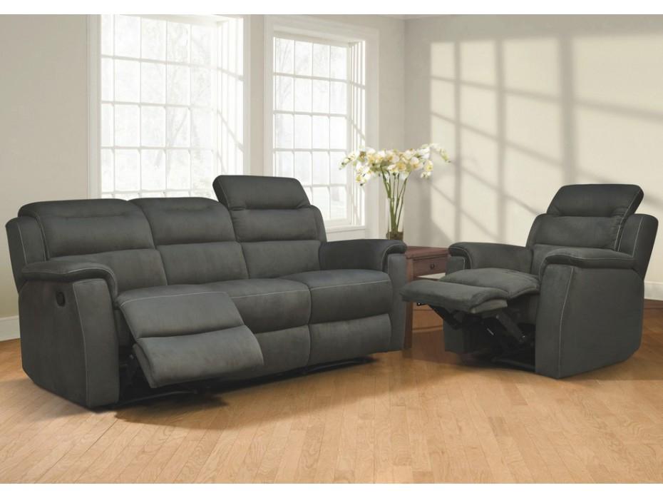 Canapé et fauteuil relax en microfibre 3 coloris SIMONO