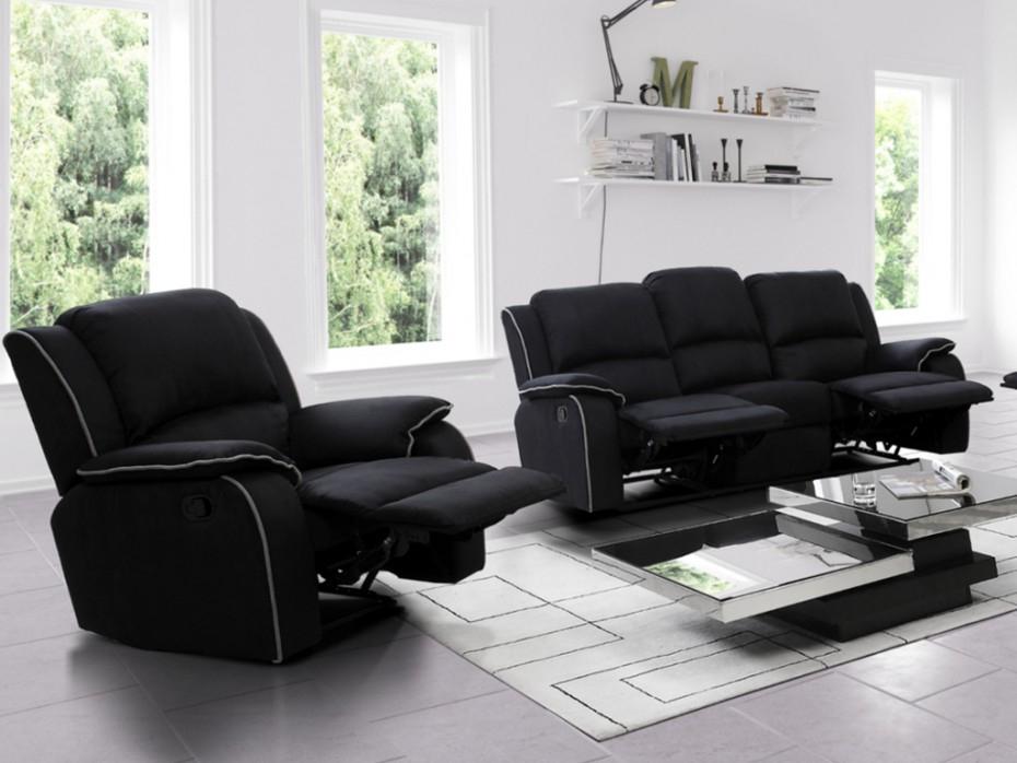 Canapé et fauteuil relax en microfibre Chocolat noir ou