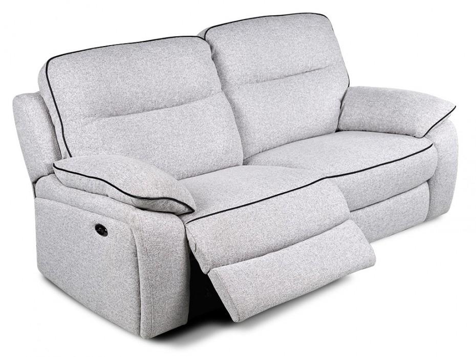 Canapé 3 places relax électrique en tissu Gris CATANE