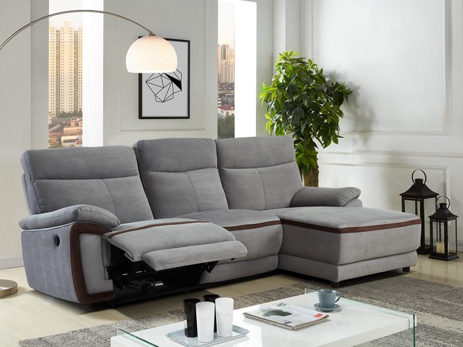Canapé d angle relax électrique en tissu Gris PROVO