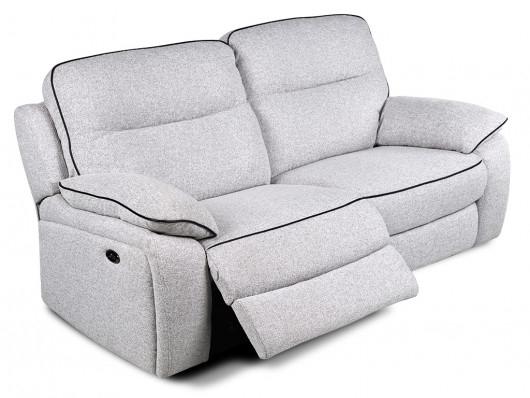 Canapé et fauteuil relax en tissu gris clair CATANE