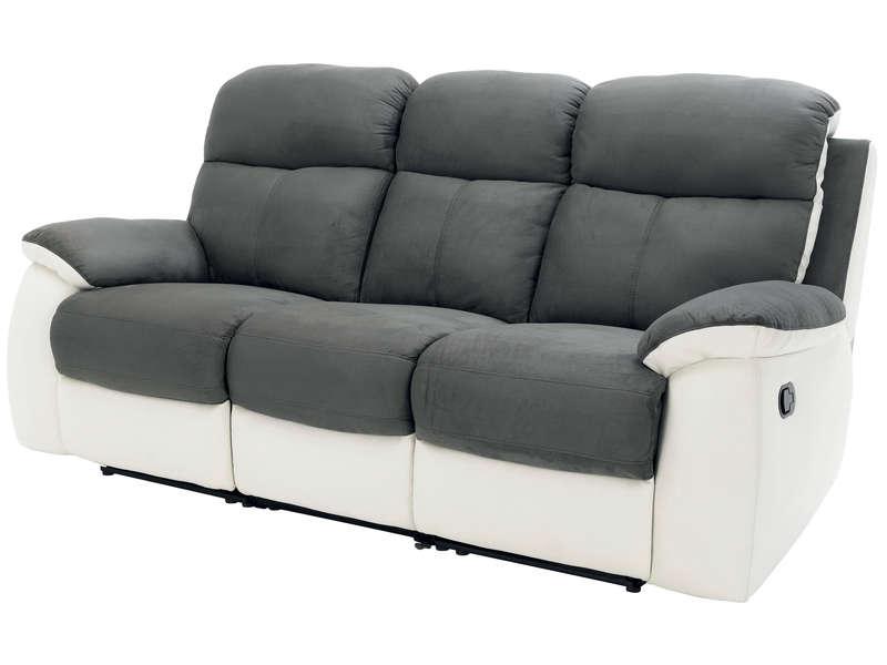 Canapé fixe 3 places dont 2 relaxation manuel en tissu
