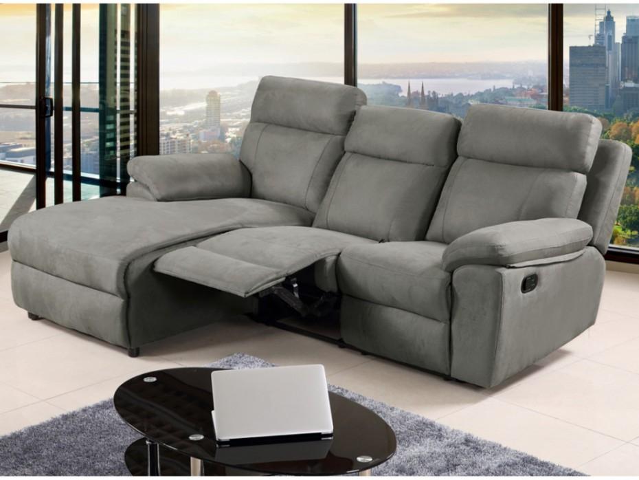 Canapé relax en tissu Gris Angle gauche ARTUKI