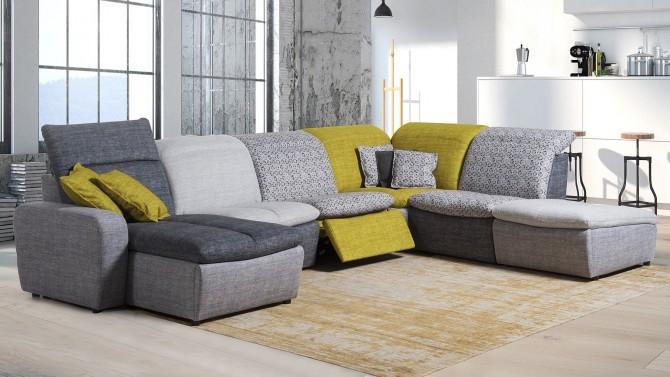 Grand canapé d angle modulable relax électrique tissu Art