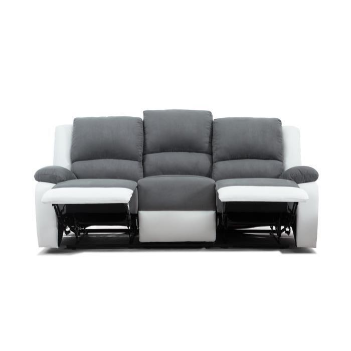 RELAX Canape de relaxation en simili et tissu 3 places