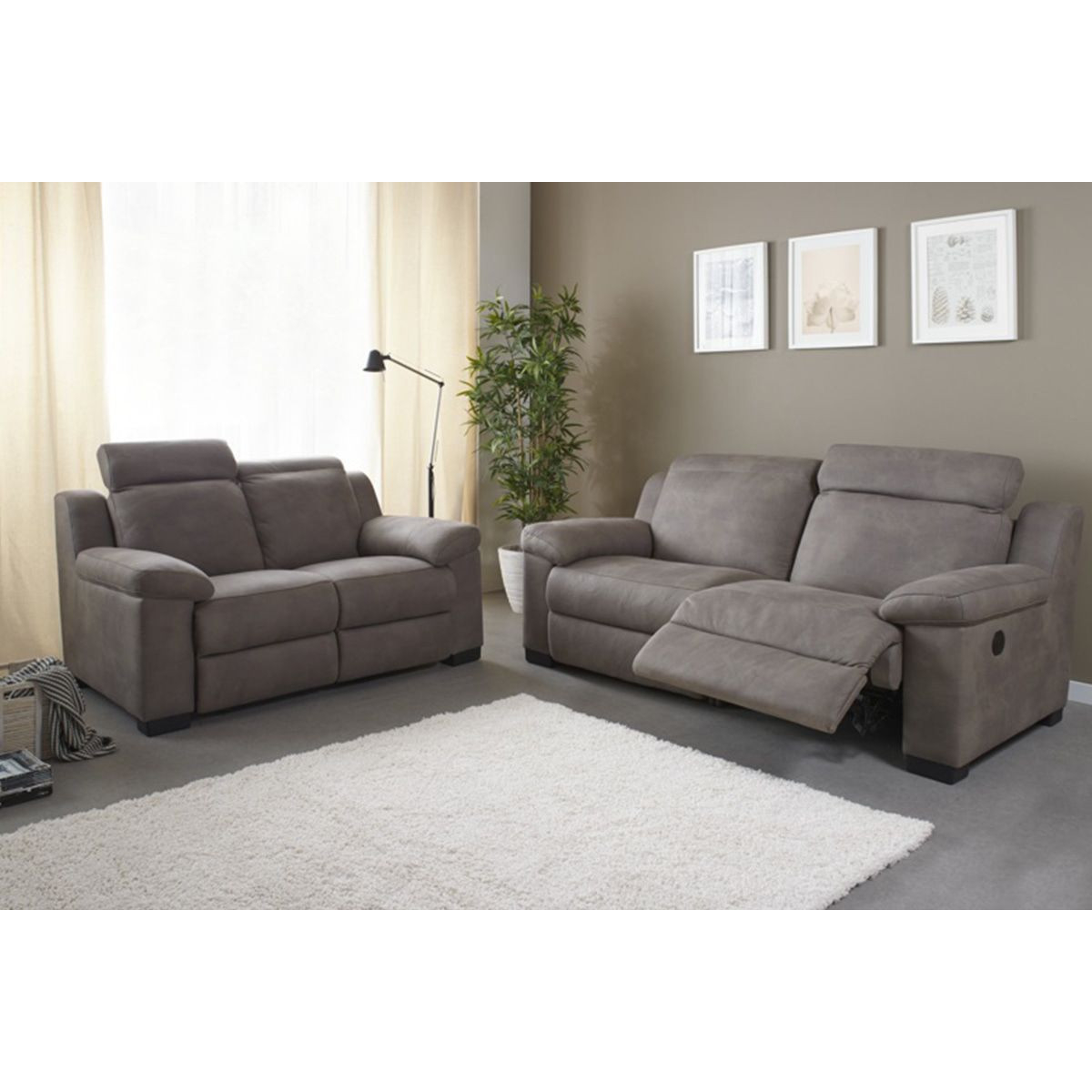 Salons Canapé 3 places en tissus avec relax électrique