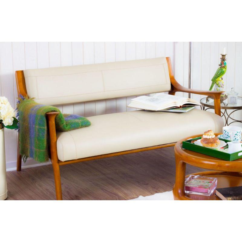 Canapé design scandinave cuir beige Ferdinand Saulaie