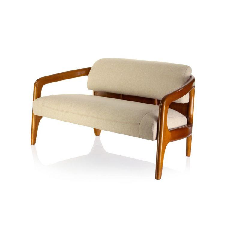 Canapé design scandinave tissu beige lund Saulaie