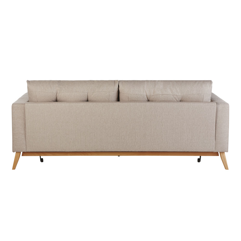 Canapé lit style scandinave 3 places beige Brooke