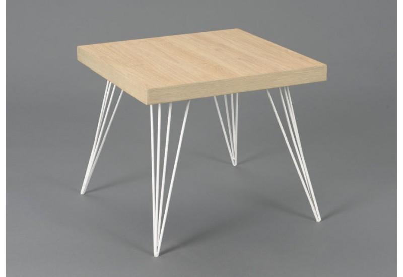 Bout de canapé scandinave playroom pieds métal blanc et