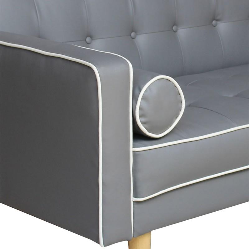 Canapé convertible scandinave Gris liseré blanc pas