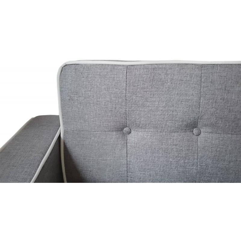 Canapé convertible scandinave Tissu Gris liseré blanc pas