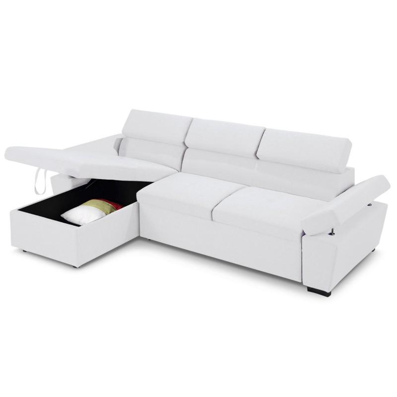 Canapé d angle convertible avec coffre de rangement Blanc