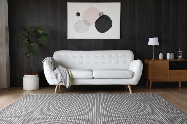 Canapé rétro scandinave 3 places blanc en cuir reconstitué
