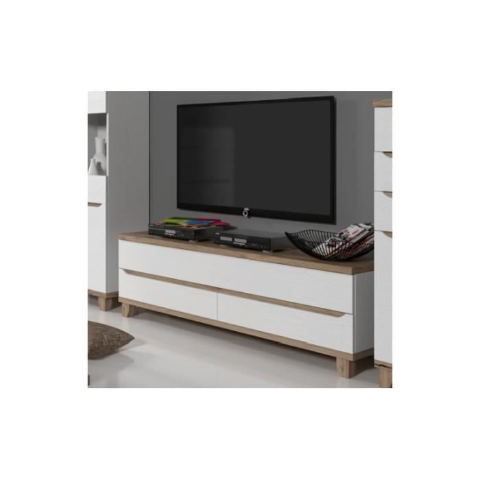 Meuble TV scandinave LIER blanc et bois Achat Vente