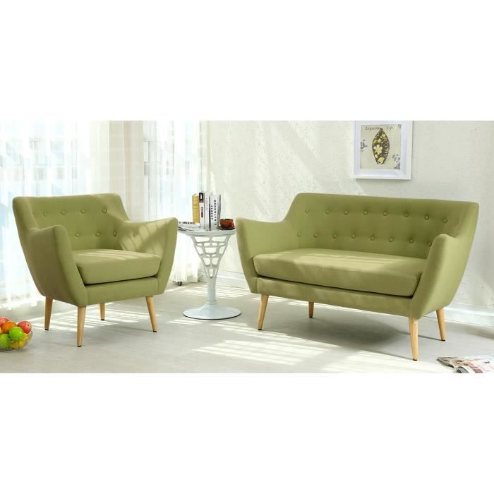 Canapé scandinave 2 places Molly Tissu Vert Achat