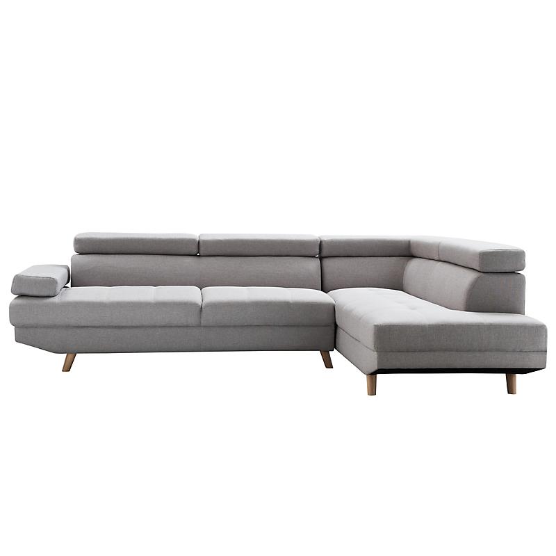 Canapé d angle droite SCANDINAVE 4 places tissu gris clair