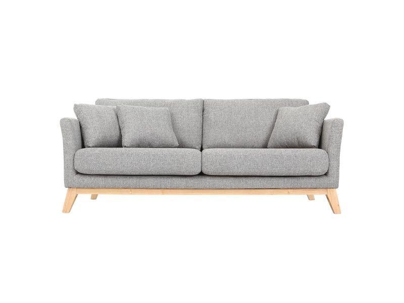 Canapé scandinave 3 places gris clair déhoussable pieds